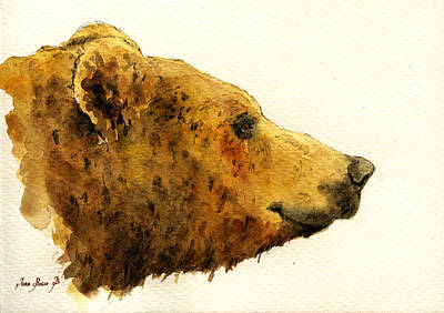 Grizzly Bear Print by Juan  Bosco