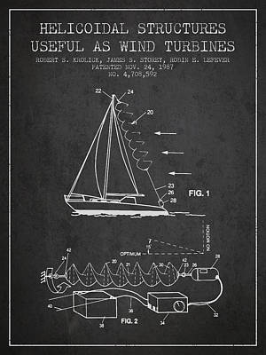Helicoidal Structures Useful As Wind Turbines Patent From 1987 - Print by Aged Pixel