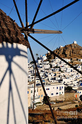 Cyclades Photograph - Ios Town And Windmill by George Atsametakis