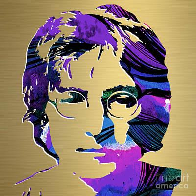 John Lennon Gold Series Print by Marvin Blaine