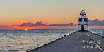 Sunrise Photograph - Kewaunee Pierhead Lighthouse by Twenty Two North Photography