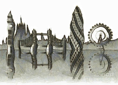 London Eye Mixed Media - London Skyline by Michal Boubin