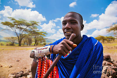 Person Photograph - Maasai Man Portrait In Tanzania by Michal Bednarek
