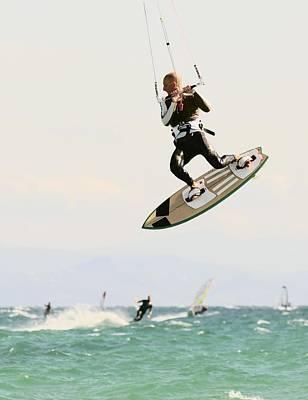 Adventuresome Photograph - Man Kitesurfing by Ben Welsh