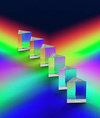 6 Prisms Reflecting Spectral Colours Print by David Parker