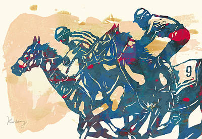 Racing Horse Stylised Pop Art Drawing Potrait Poser Print by Kim Wang
