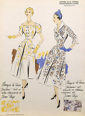 Fashion Design Drawing - Sketches And Fabric Swatches by French School