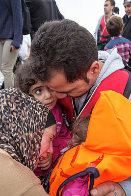 Crying Photograph - Syrian Refugees Arriving On Greek Island by Ashley Cooper