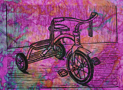 Linoluem Drawing - Tricycle by William Cauthern