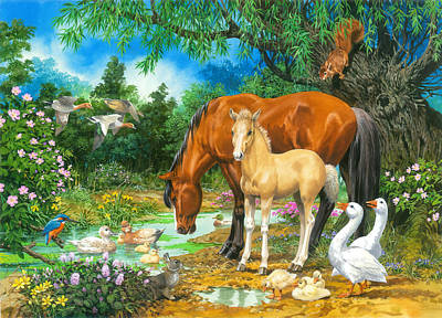 Foal And Mare By The Stream Print by John Francis