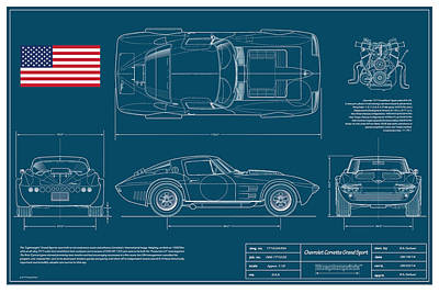 '63 Corvette Grand Sport Blueplanprint Print by Douglas Switzer
