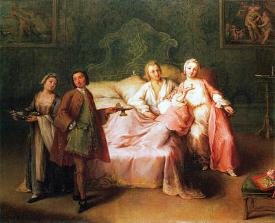 Pietro Longhi Painting - The Married Couples Breakfast by Pietro Longhi