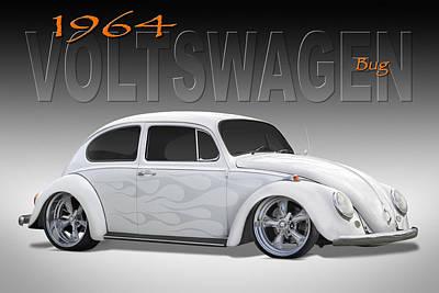 Street Rod Digital Art - 64 Volkswagen Beetle by Mike McGlothlen