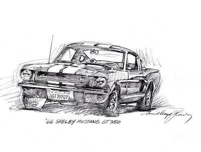 Pony Drawing - 66 Shelby 350 Gt by David Lloyd Glover