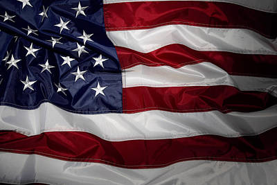 Colored Background Photograph - American Flag by Les Cunliffe