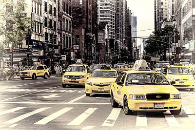 Streetscenes Photograph - 6th Avenue Nyc Yellow Cabs by Melanie Viola