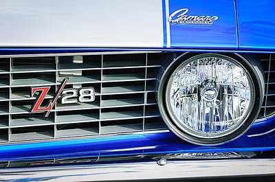 1969 Chevrolet Camaro Z-28 Grille Emblem Print by Jill Reger