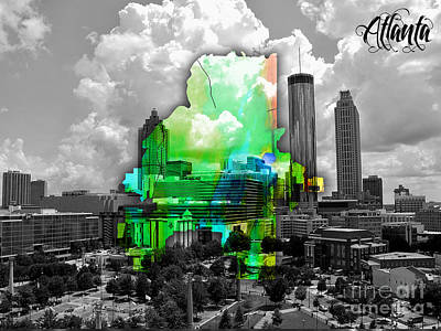 Vintage Mixed Media - Atlanta Map And Skyline Watercolor by Marvin Blaine