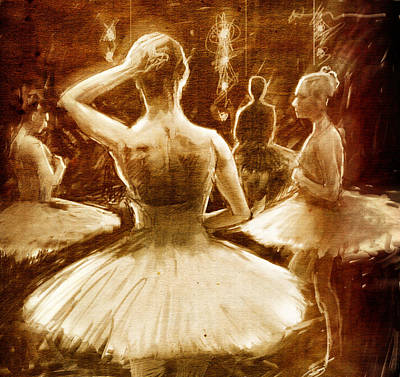 Tutus Drawing - Backstage by H James Hoff