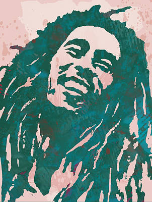 Jamaican Mixed Media - Bob Marley Stylised Pop Art Drawing Potrait Poser by Kim Wang