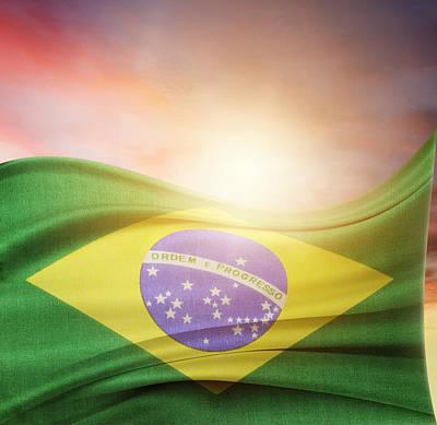 Brazilian Photograph - Brazilian Flag by Les Cunliffe