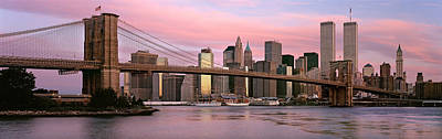 Empire State Photograph - Bridge Across A River, Brooklyn Bridge by Panoramic Images