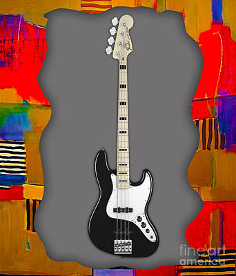 Fender Mixed Media - Fender Bass Guitar Collection by Marvin Blaine