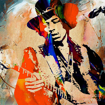 Stratocaster Mixed Media - Jimi Hendrix Painting by Marvin Blaine