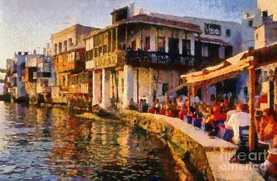 Bar Painting - Little Venice In Mykonos Island by George Atsametakis
