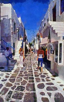 Woman Painting - Mykonos Town by George Atsametakis
