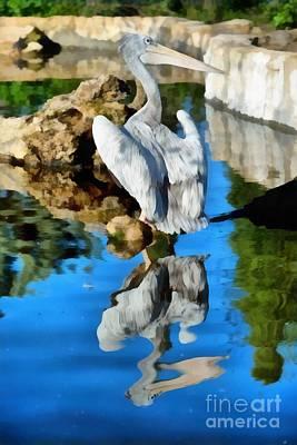 Pelican Painting - Pink Backed Pelican by George Atsametakis