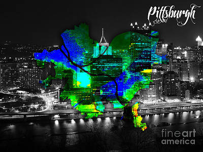 Pittsburgh Mixed Media - Pittsburgh Map And Skyline Watercolor by Marvin Blaine