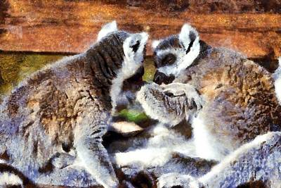Benches Painting - Ring Tailed Lemurs by George Atsametakis