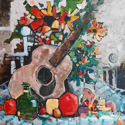 Still Life With A Guitar Print by Micheal Jones