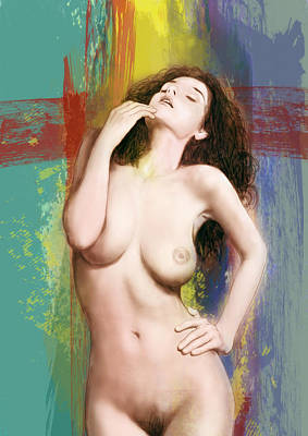 Girls Mixed Media - Stylised Nude Girl Drawing Art Sketch by Kim Wang