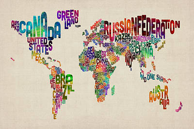 Typography Map Digital Art - Text Map Of The World by Michael Tompsett