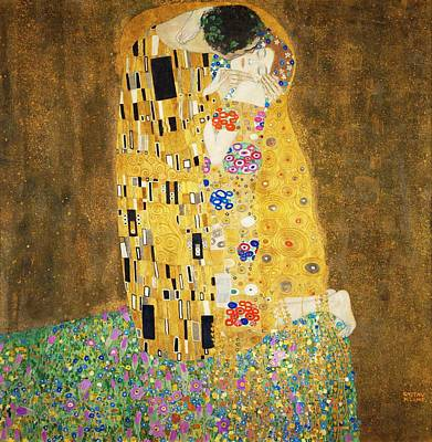 Leaves Painting - The Kiss by Gustav Klimt