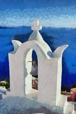 Bells Painting - Traditional Belfry In Santorini Island by George Atsametakis