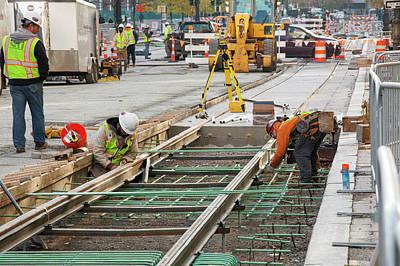 Tram Line Construction Print by Jim West
