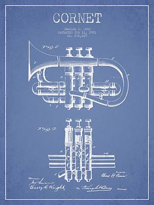 Trumpet Digital Art - Cornet Patent Drawing From 1901 - Light Blue by Aged Pixel