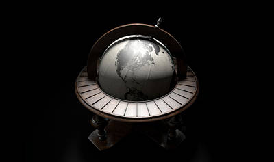 Isolated Digital Art - Vintage Wooden World Globe by Allan Swart
