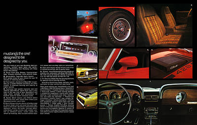 8 Track Player Digital Art - '70 Mustang Options by Digital Repro Depot