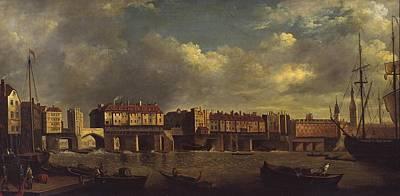 London Painting - Old London Bridge by Daniel Turner
