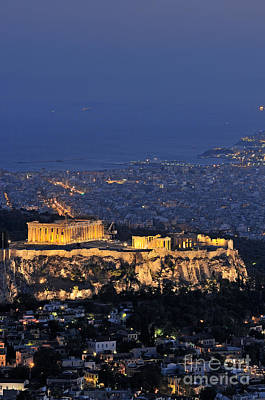 Old Photograph - Acropolis Of Athens During Dusk Time by George Atsametakis