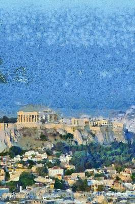Temple Painting - Acropolis Of Athens by George Atsametakis