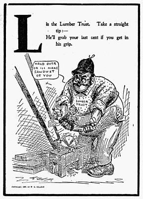 Logging Painting - Anti-trust Cartoon, 1902 by Granger