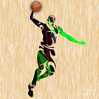 Nba Mixed Media - Basketball by Marvin Blaine