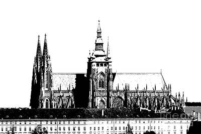 Cityspace Drawing - Cathedral Of St Vitus by Michal Boubin