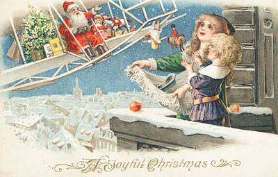 Rooftops Painting - Christmas Card by American School