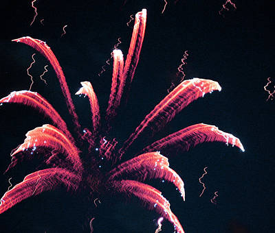 Fire Works On The Fourth Of July  Print by Larry Stolle